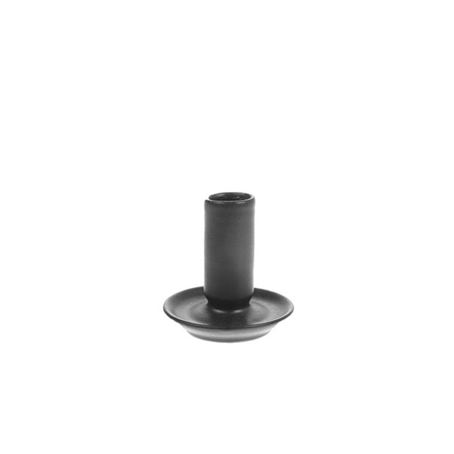 Ceramic candle holder M black