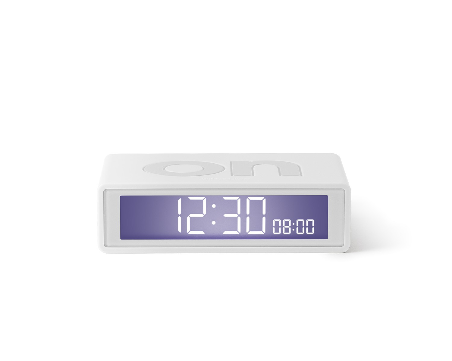 Flip travel alarm clock white