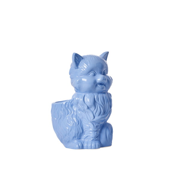 Ceramic cat toothbrush holder blue
