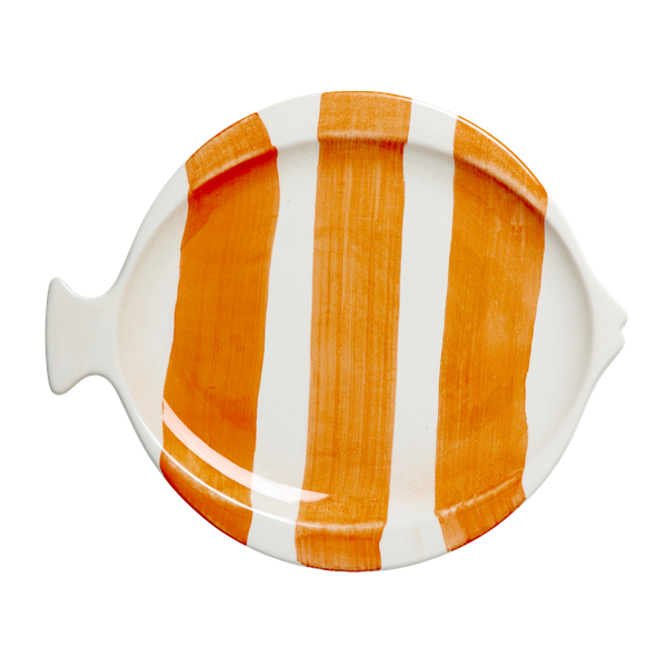 Striped fish shaped lunch plate coral