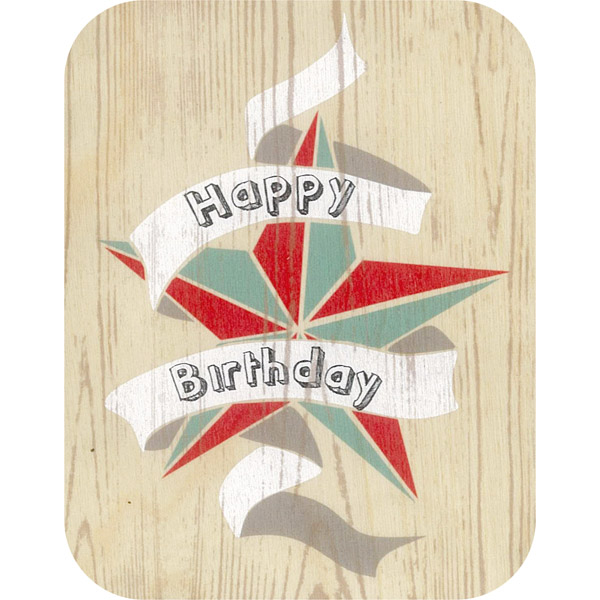 Wooden card hb day star