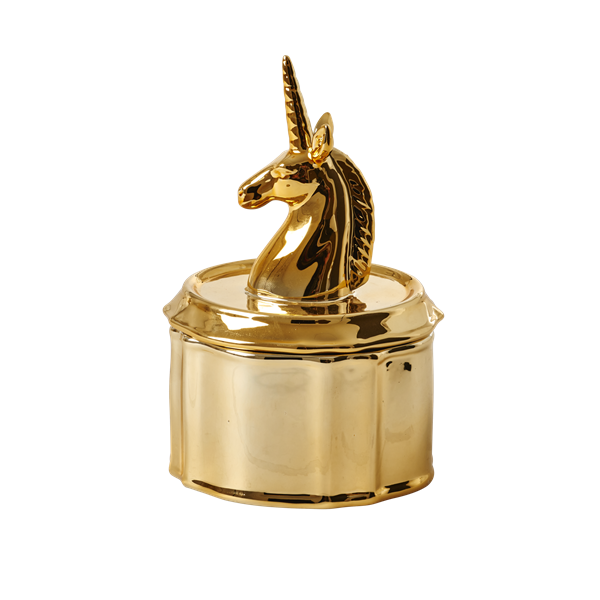 Gold porcelain jewelry box unicorn head