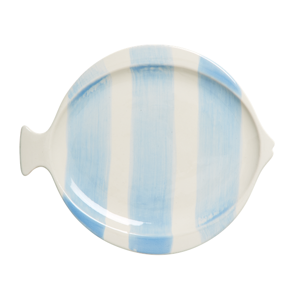 Striped fish shaped lunch plate blue