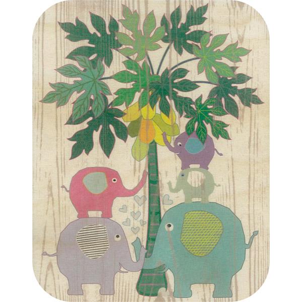 Wooden card elephants and papaya tree