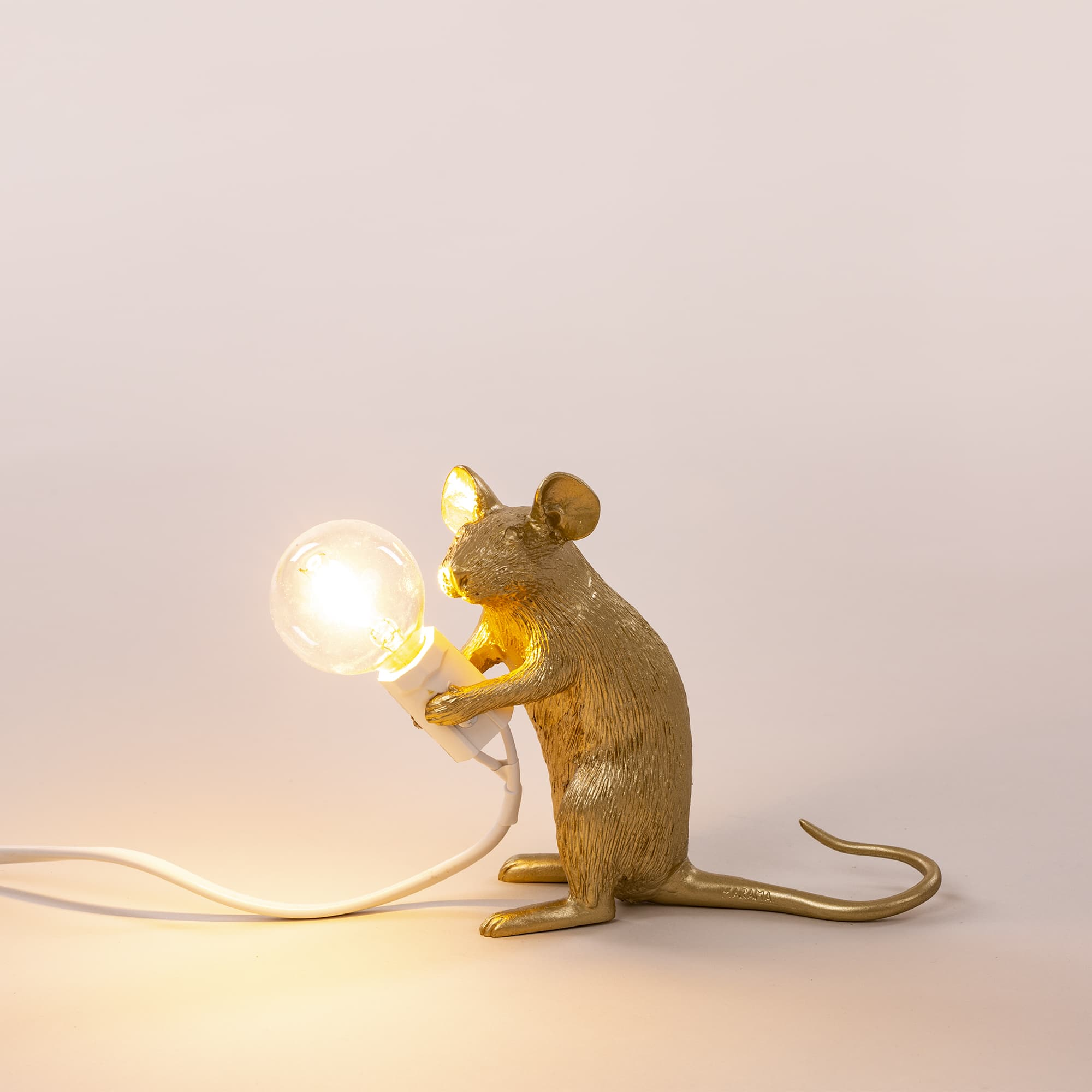 Mouse lamp sitting gold