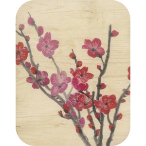 Wooden card red blossom