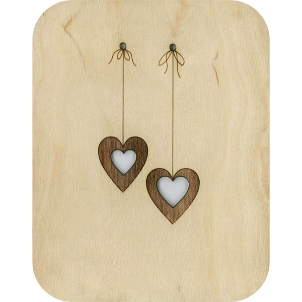 Wooden card dangling hearts
