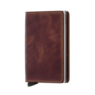 Slim wallet vintage brown leather