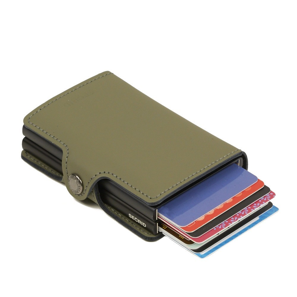 Twin wallet matte green