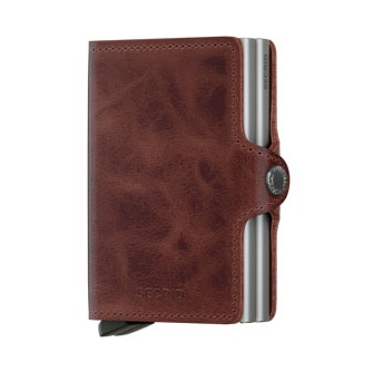 Twin wallet vintage brown leather