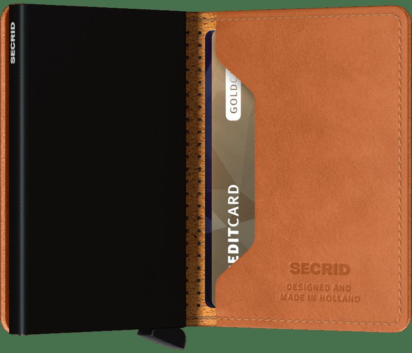 Slim wallet perforated cognac