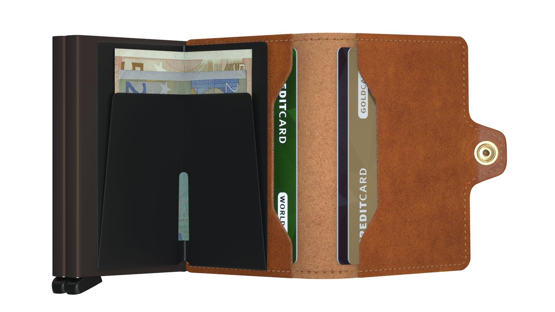 Twin wallet cognac brown