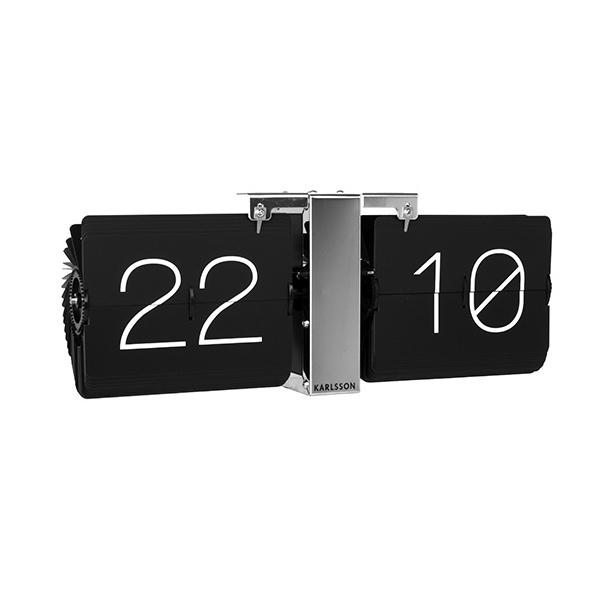Flip clock no case black chrome