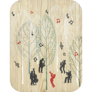 Wooden card musicians in the forest