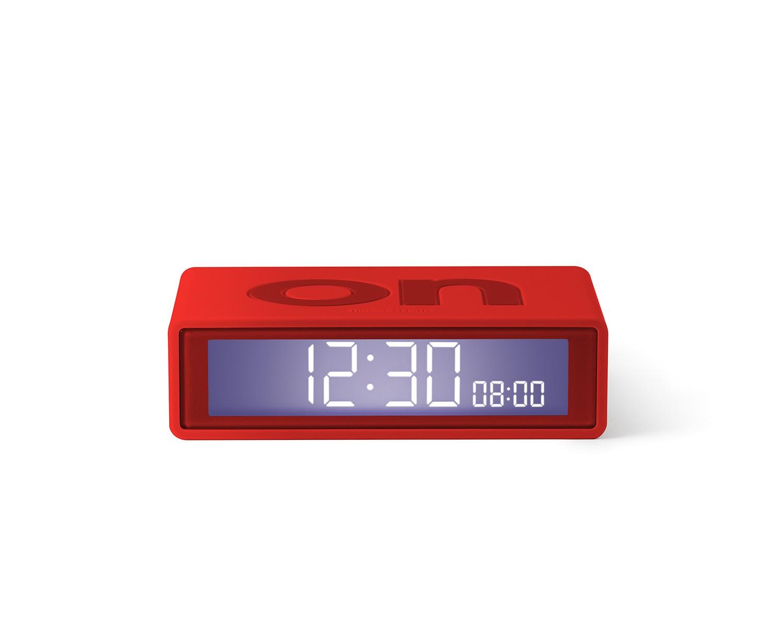 Flip travel alarm clock red