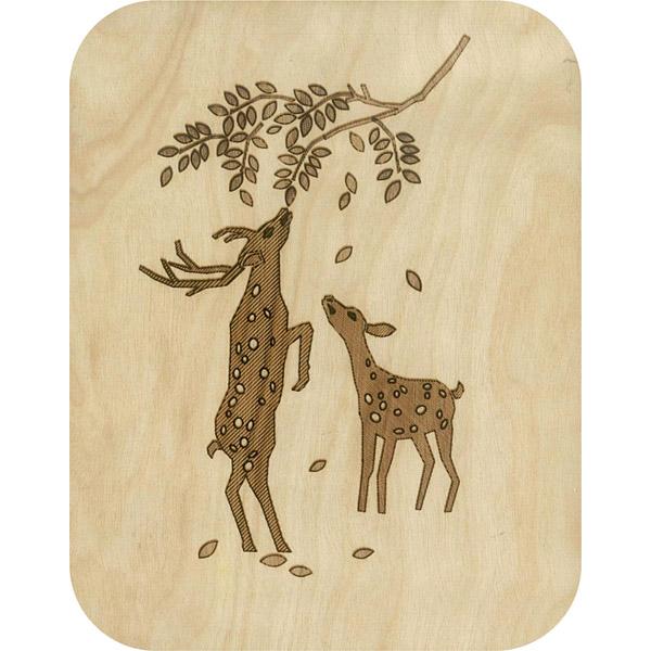 Wooden card deer browsing