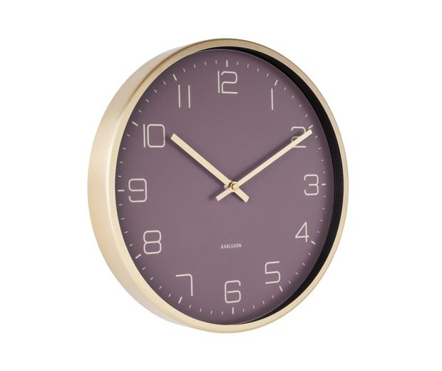 Wall clock gold elegance purple