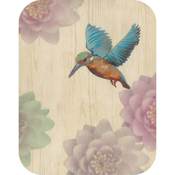Wooden card kingfisher & water lilies