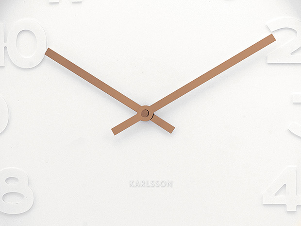 Wall clock mr. white numbers copper 51 cm