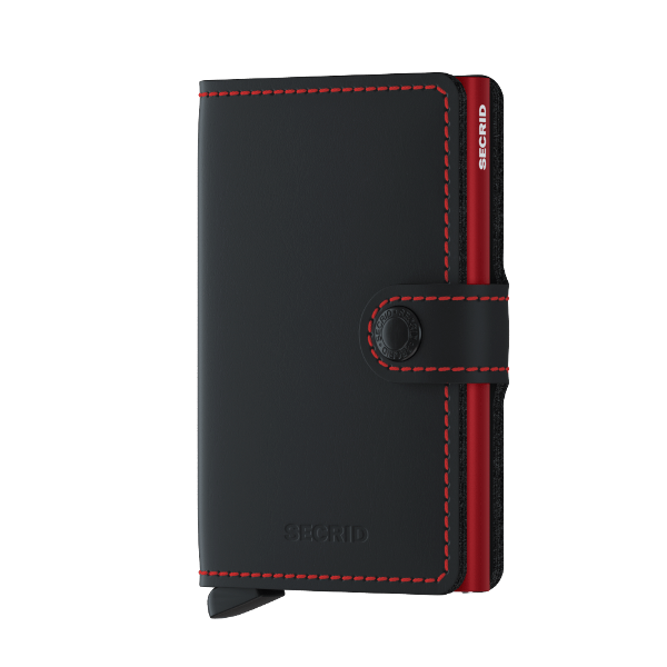 Miniwallet matte black & red UITLOPEND