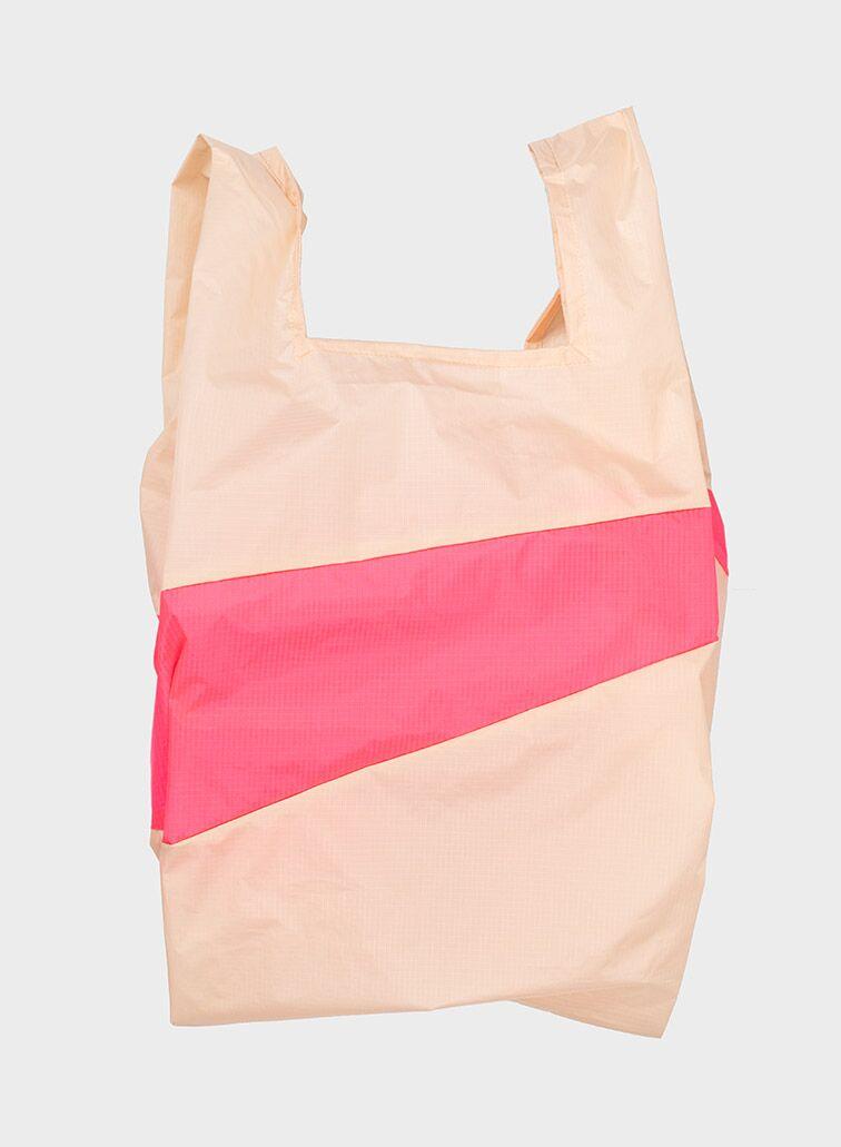 Shoppingbag 2000 peach & fluo pink L