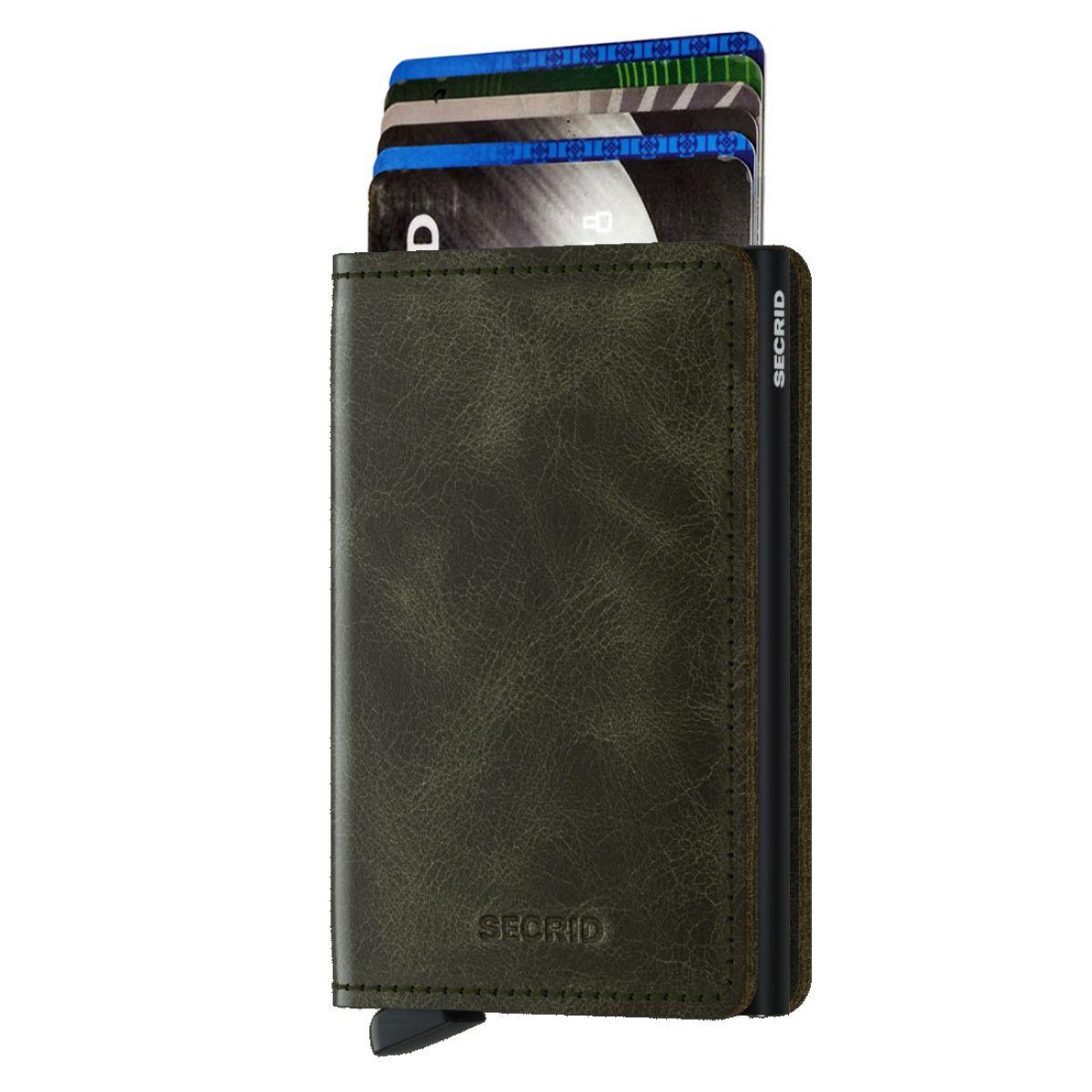 Slim wallet vintage olive