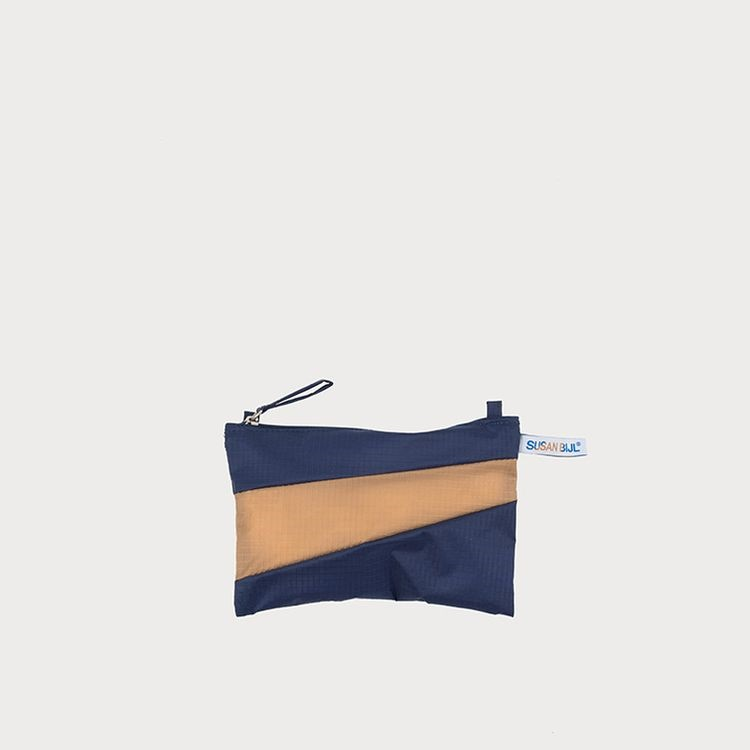 Pouch navy & camel S