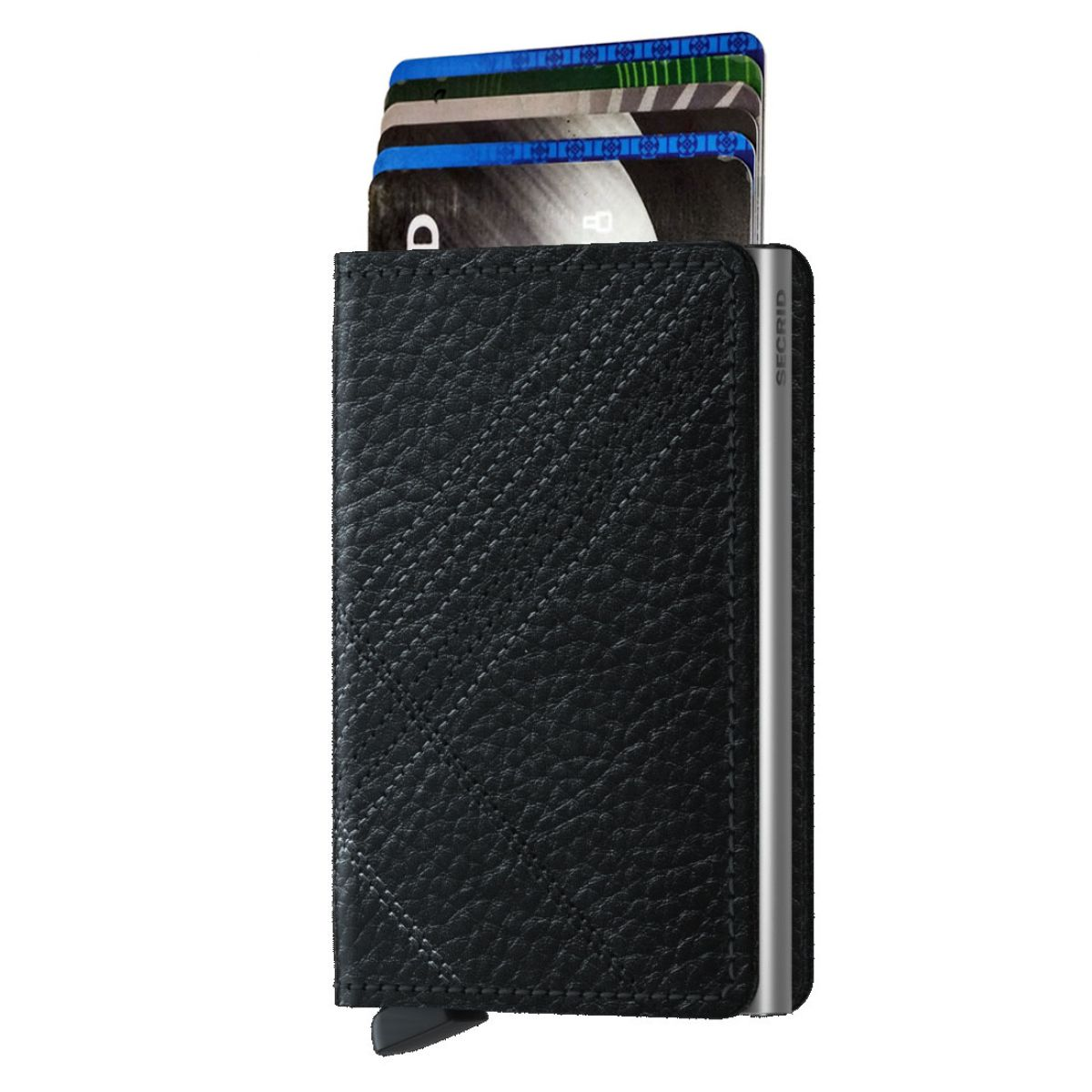 slim wallet stitch linea black