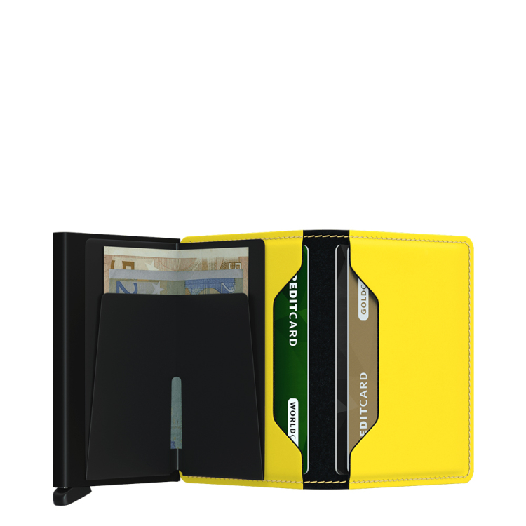 Slim wallet matte black & yellow