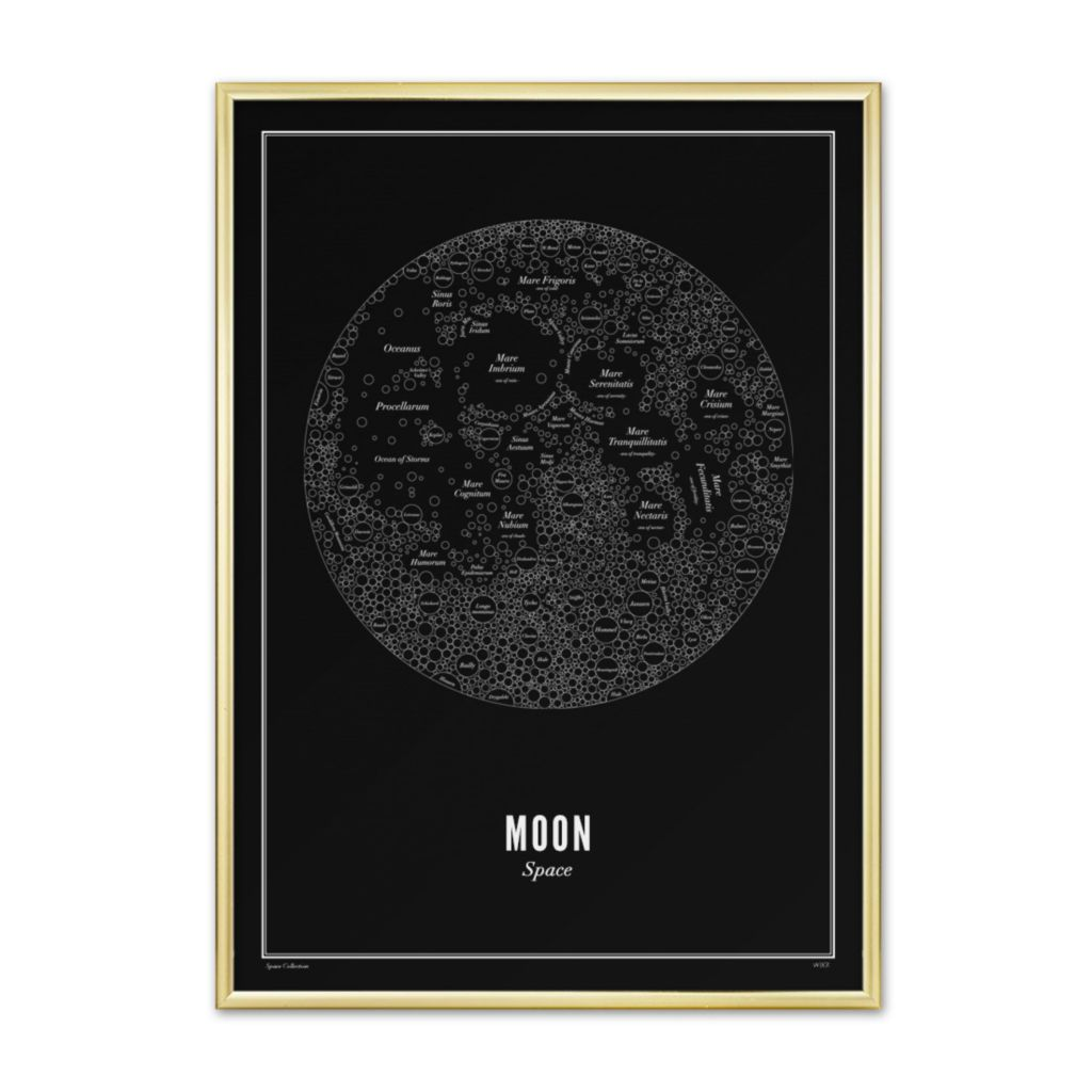 Space moon black 40X50 cm