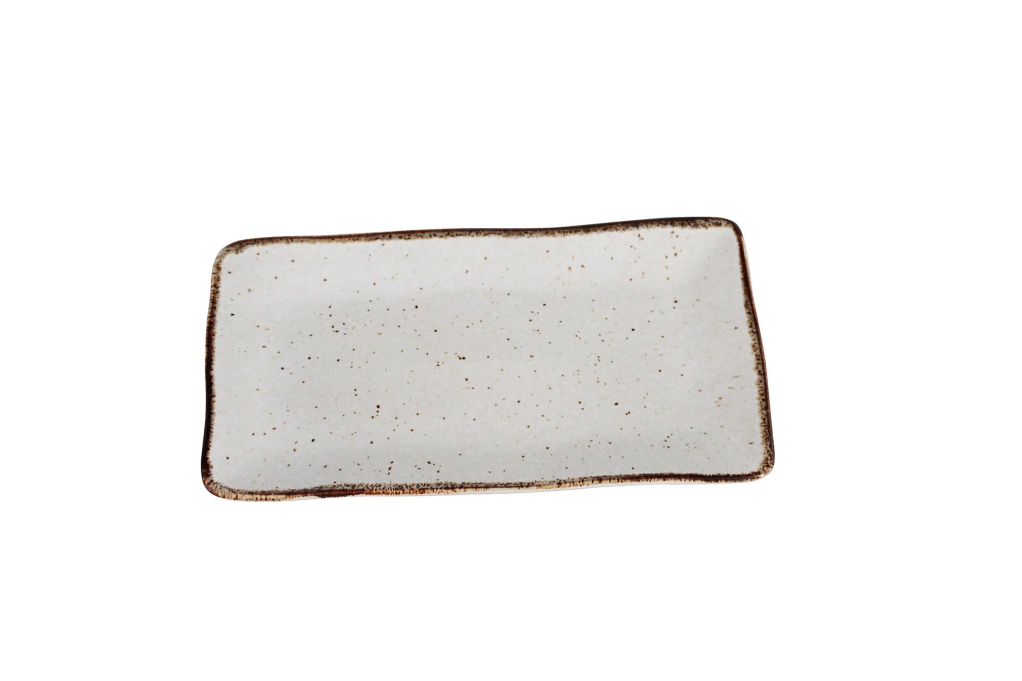 Schaal stone rechthoek medium creme
