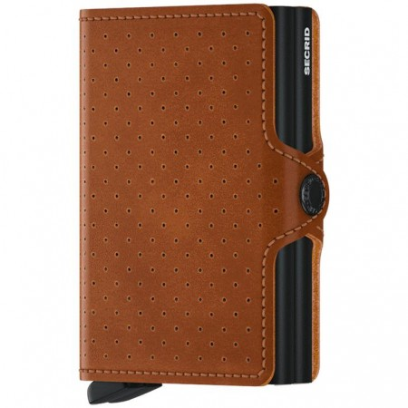 Twin wallet perforated cognac