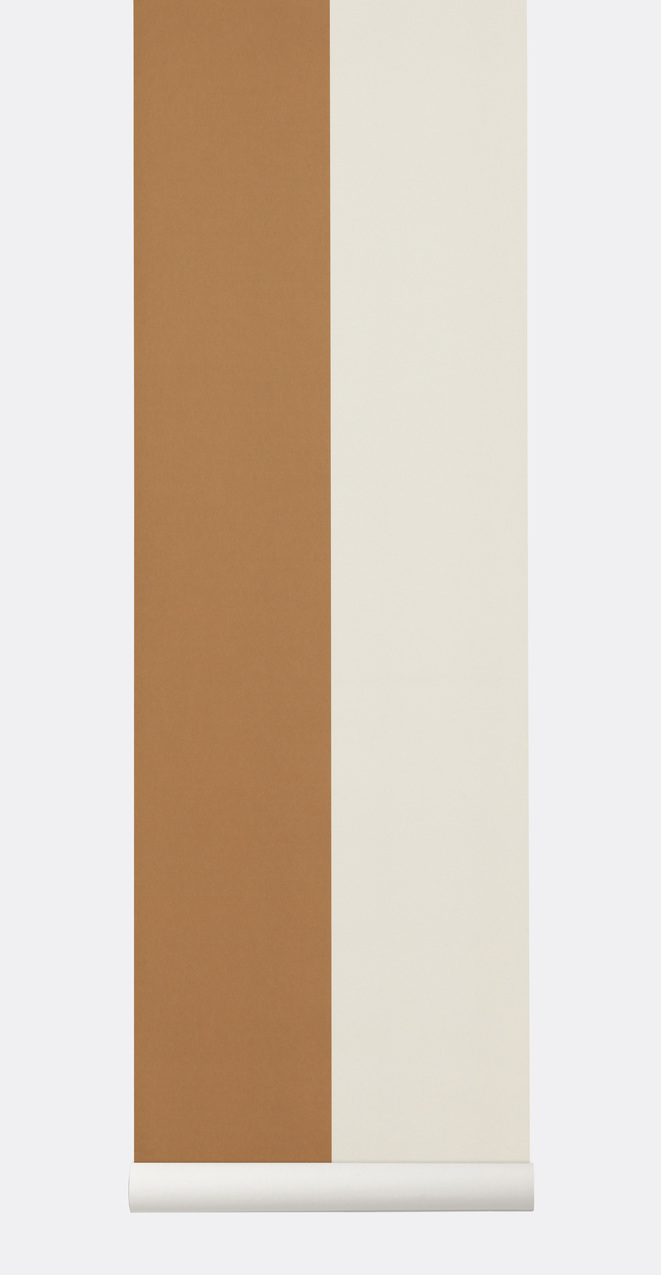 Ferm Living Behang Thick Lines Mustard/Off-white