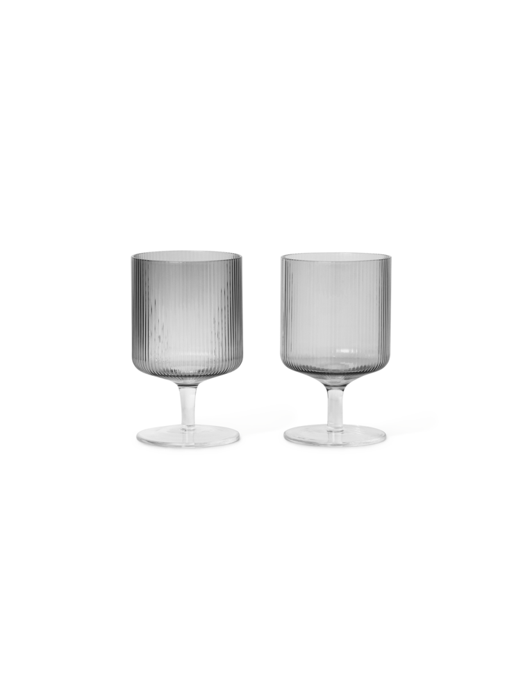 Ripple wine glasses set of 2 smoked grey