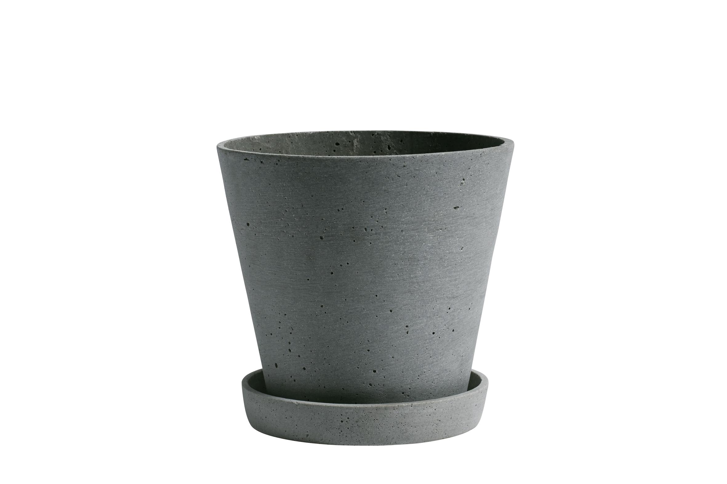 Flowerpot with saucer L green