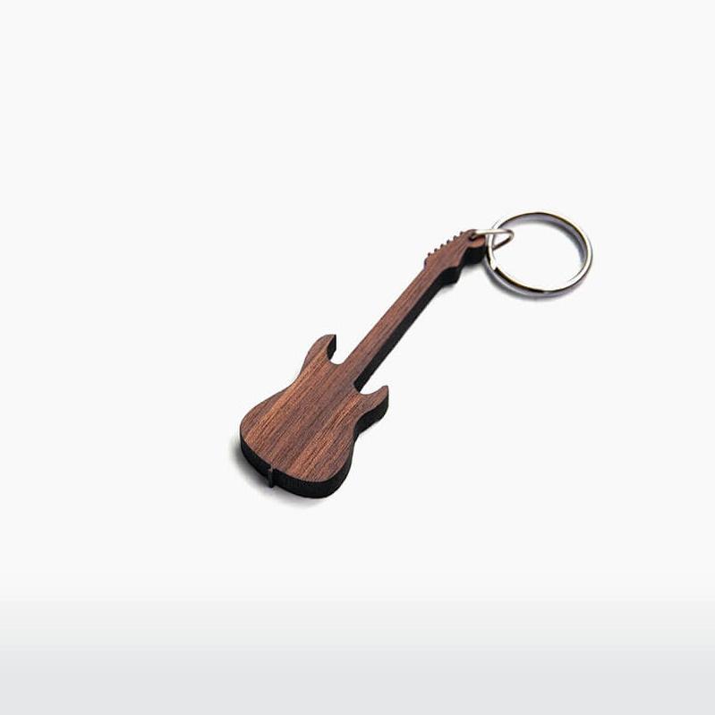 Sleutelhanger elektrische gitaar walnoot