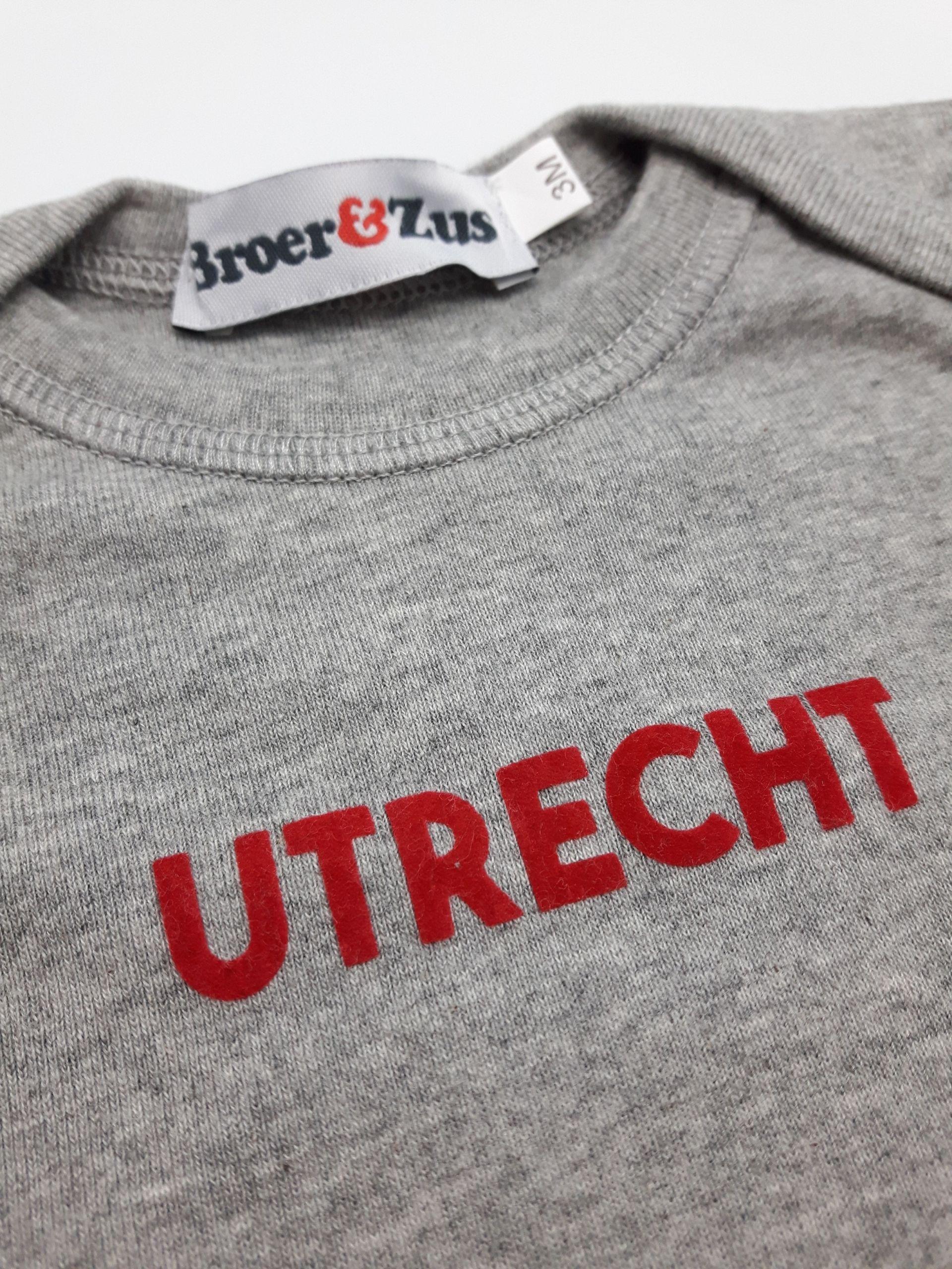 Baby romper Utrecht grey melange red flock 3 maanden