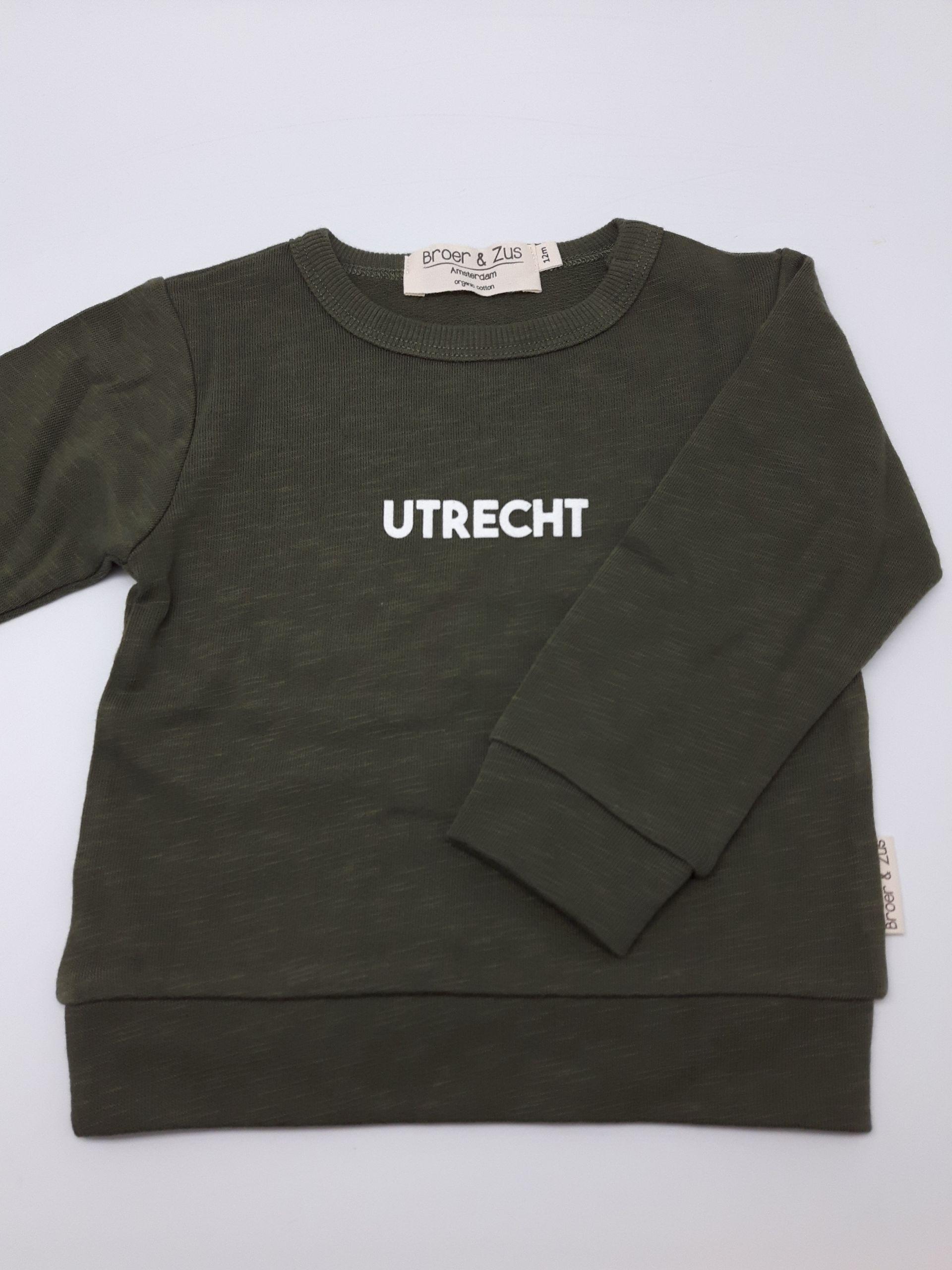 Sweater Utrecht kaki white 12 maanden