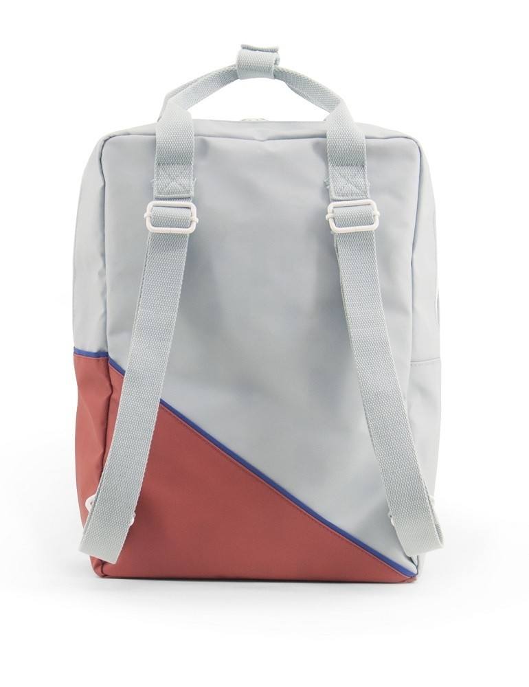 Backpack diagonal large faded red/powder blue