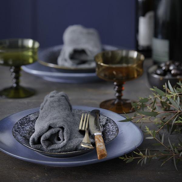 Ceramic 70's dinner plate blue