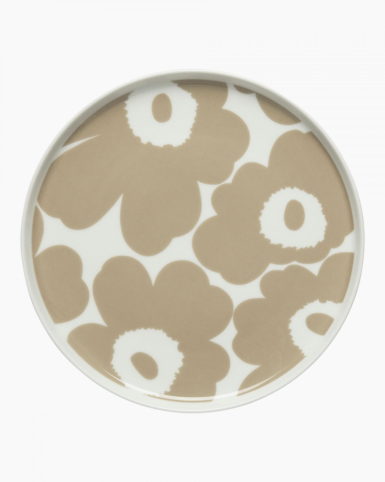 Oiva/Unikko plate 20cm white/ beige