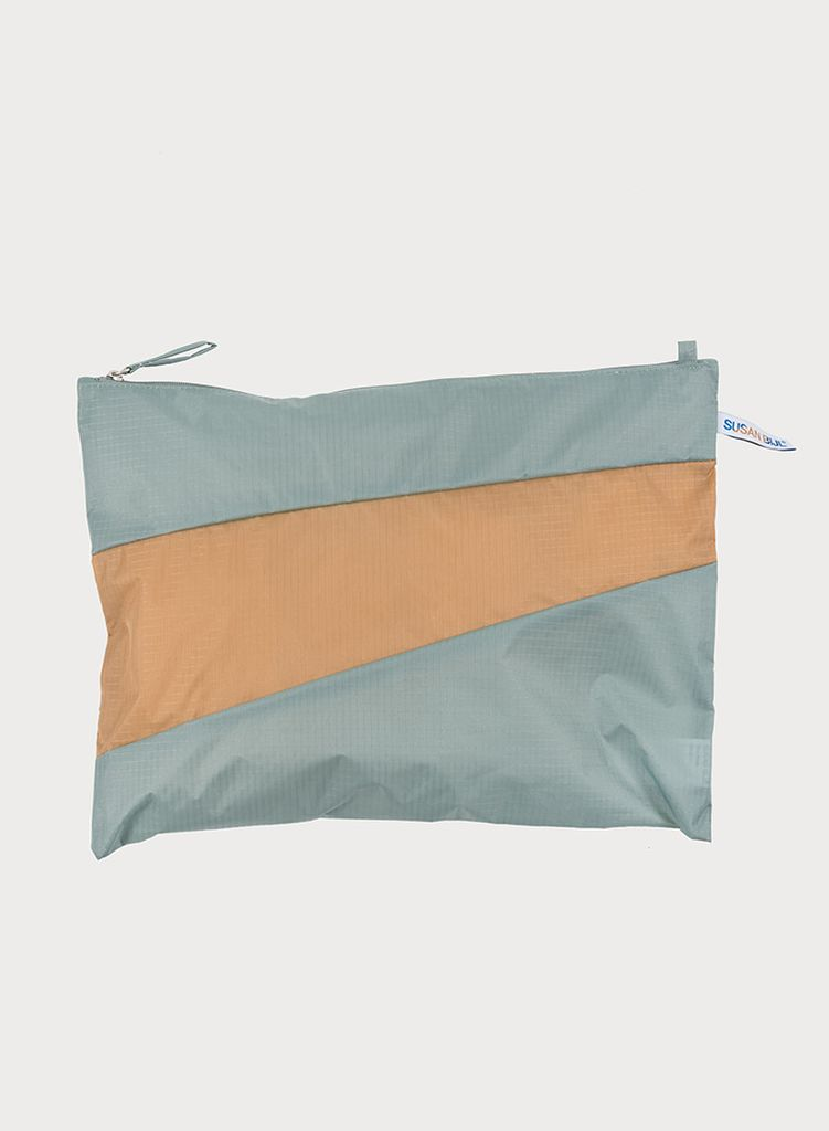 Pouch grey & camel L