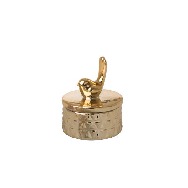 Tiny porcelain jewelry box bird gold