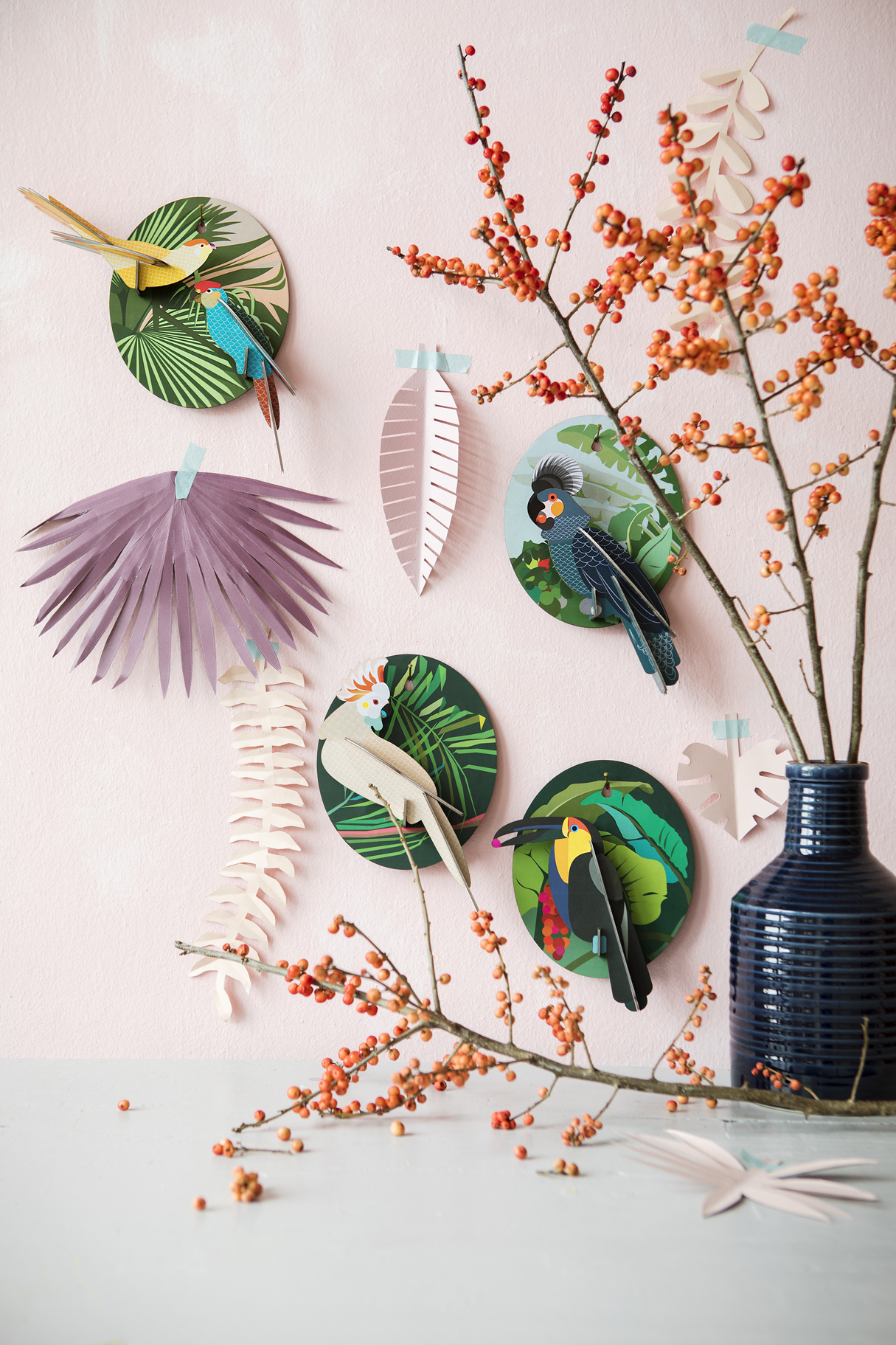 Wall decoration parakeets