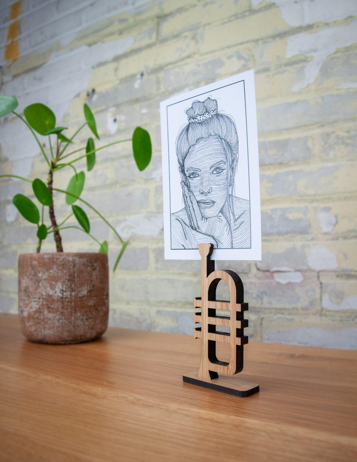 Berben Design kaart en foto houder trompet