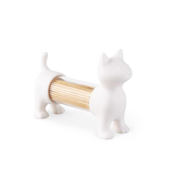 Toothpick holder salt & pepper cat white