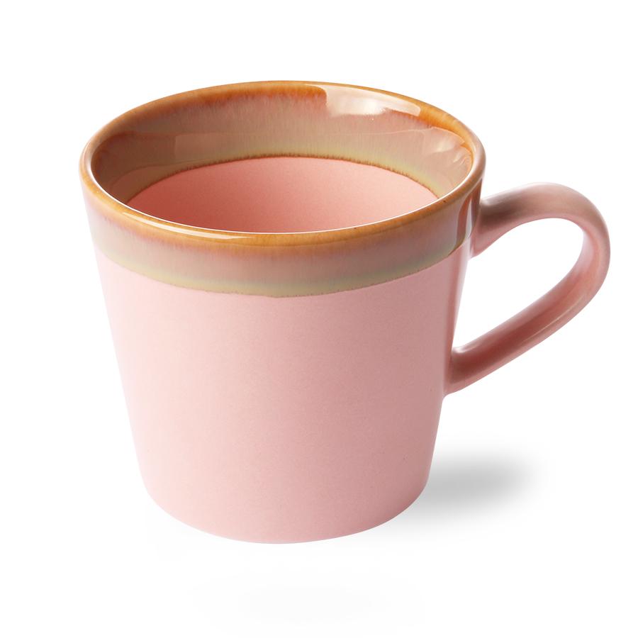 ceramic 70's cappucinno mug pink