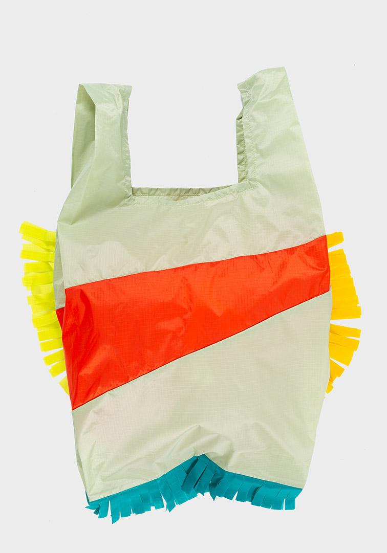 Shoppingbag Fringe Pistachio & Red alert L