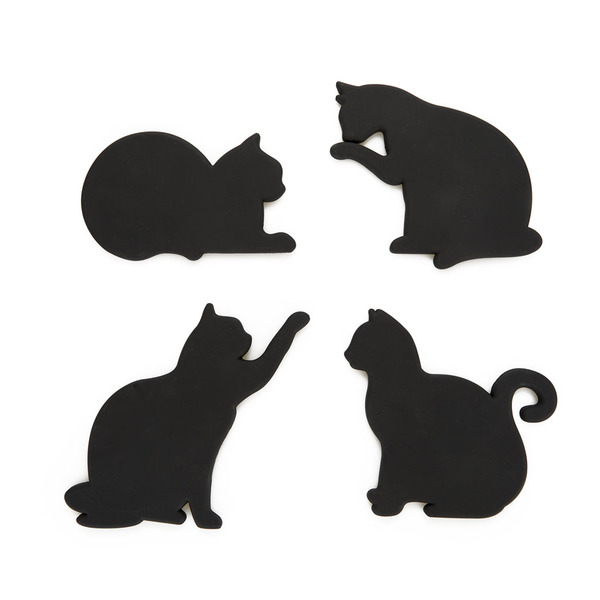 Coasters and magnet cat set of 4