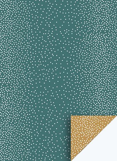 Cadeaupapier dots groen/oker
